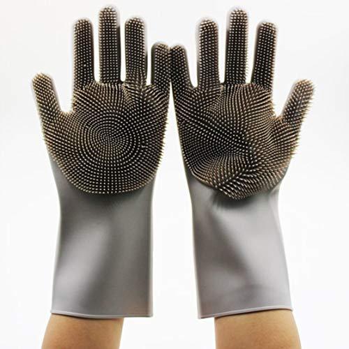 Preisvergleich Produktbild LouiseEvel215 Silikon-Geschirr-Handschuhe mit Reinigungsbürste Küchewäsche-Haushaltsreinigung-Waschhandschuh-Nahrungsmittelgrad-Geschirrspülmaschine