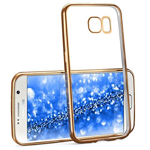 Chrome Case für Samsung Galaxy S6 | Transparente Silikon Hülle mit Metallic Effekt | Dünne Handy Schutz Tasche von OneFlow | Back Cover in Gold