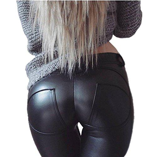 ZEARO Elegant Damen Skinny Legging Stretch PU Leder Look Optik Leggings - 3