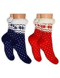 2 Paar Homesocks Socke innen mit weichem Teddyfutter und Antirutsch-Dots auf der Sohle Größen 35-38 oder 39-42