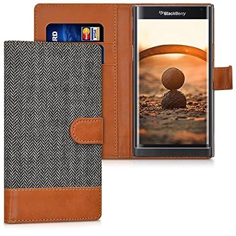 kwmobile Étui portefeuille en cuir synthétique pour Blackberry Priv - étui avec compartiment pour carte de visite et carte de crédit avec fonction support pratique en anthracite marron