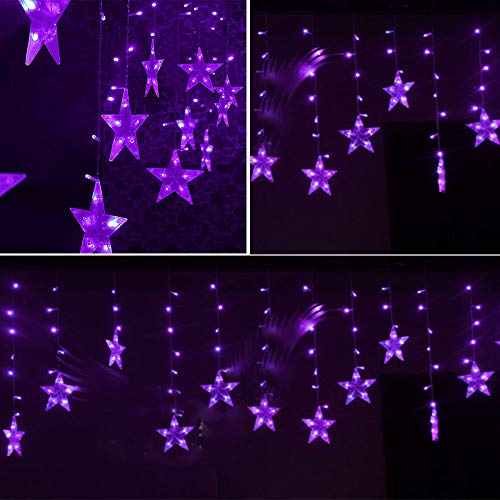 TianranRT LED Sterne Weihnachten Hängen Vorhang Lichter String Net Xmas Home Party Home Decor (Lila)