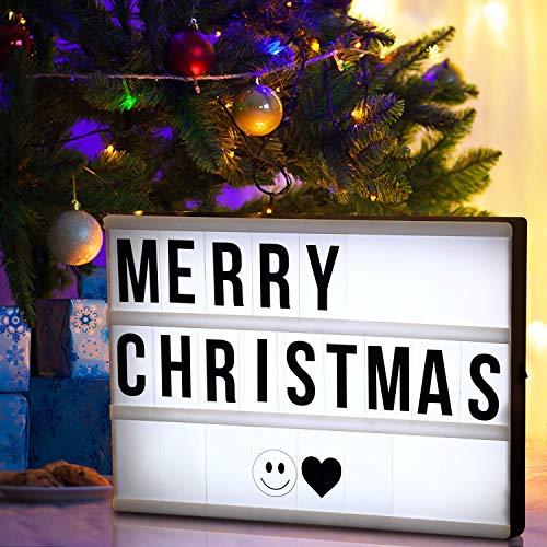 Mbuynow LED Lightbox mit Buchstaben A4 Leuchtschilder mit 90 Buchstaben, Zahlen, Symbole Weihnachten Geschenk Batteriebetrieben Lichtbox Filmische warme Leuchtkasten für Haus Christmas Dekoration