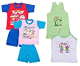 Indistar Boys Pure Cotton Baba Suit (T-Shirt and Bottom) (Pack of 2)- (Assorted Color/Print) And Girls Pure Cotton Cartoon Print Slips/Vests (Pack of