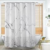 Alumuk Duschvorhang aus Stoff | Wasserdichter Duschvorhang mit Verstärktem Saum | waschbarer Textil Duschvorhang in der Größe 120 cm x 180 cm | Polyester Marmor (120 x 180 cm)