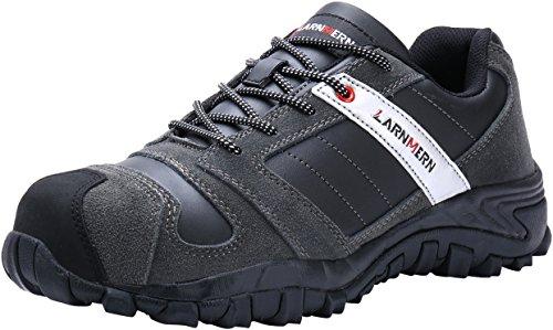 LARNMERN Sicherheitsschuhe Herrn,LM-18 Arbeitsschuhe Stahlkappe Stahlsohle Anti-Rutsch Industrie und Bau Schuhe Weich Komfortabel