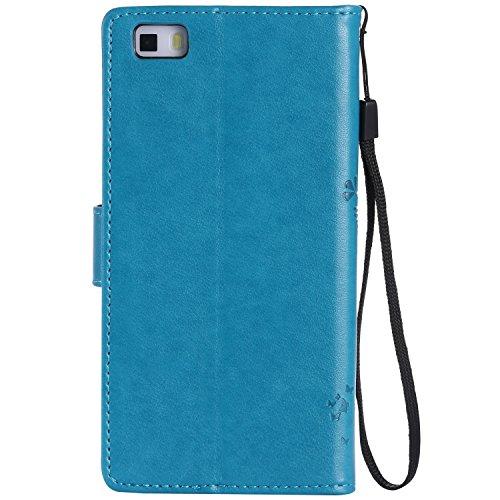 TOCASO Funda de Cuero Huawei P8 Lite Funda Piel para con Tapa Huawei P8 Lite [Garantía de por vida] Soporte Plegable Ranuras para Tarjetas y Billetes Estilo Libro Cierre Magnético Impresión de Flor Impresión de Amor PU Premium y TPU Funda Interna --Azul