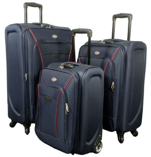 PMro-Trading Euro-Trading Copenhagen Suitcase 3 Pieces. Size-78 X 45 Cm. Colour-Blue Valise. 78 cm. 83 liters. Bleu (Blue)