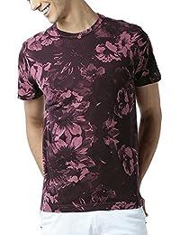 Huetrap Men's Floral Glory Maroon T Shirt