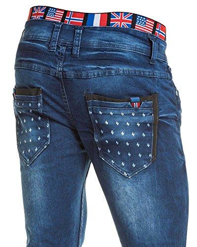 BLZ jeans - Jean homme bleu droit délavé avec ceinture élastique Bleu