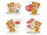 1 x Aufkleber Teddybären Set Teddy Bär Kinderaufkleber Sticker Kinder Geschenk