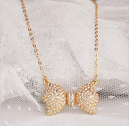 Your boy-HT Full Diamond Delicate Bow Necklace Boutique Item Sweater Chain Exquisite and Simple, Stylish and Versatile -