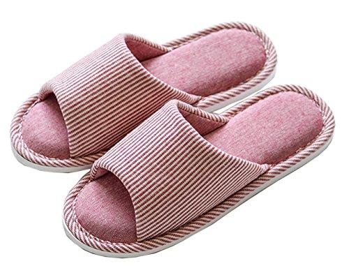 Lijeer Hausschuhe Damen Plüsch Memory Foam Waschbare Frottee Slipper Rutsche Indoor Pantoffeln Slides pink vertical