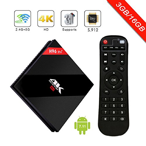 [2018 New Arrivals] H96 Pro Android 7.1 TV Box 3GB RAM 16GB ROM,Amlogic 912 64 Bits Octo-core Smart TV Box Support Real 4K Dual Band WiFi 2.4GHz/5GHz Bluetooth 4.1