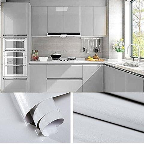 5×0,61M Gris Papier Peint Autocollant Rouleau Adhésif Sticker Mural Etanche pour Armoire Cuisine Meuble Electroménager Carreaux Mur Verre en PVC