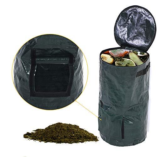 GuLouFanA Garten-PE-Kompostbeutel-Wiederverwendbare schwere Garten-Taschen - Rasen-Pool-Garten-Abfallbeutel mit Klappe und Griffen (H23,6 / D13,77 Zoll) (Wiederverwendbare Rasen-taschen)