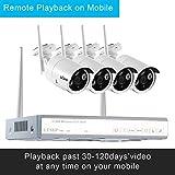 LESHP 4CH drahtloses Überwachungskamera Set mit Network Video Recorder IP Überwachungs-Kamera und 1T HDD(NVR ,HD, 720P)