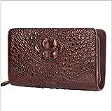 T-FBW Herrengeldbörse Herrenbrieftasche - Krokodil Leder Clutch Doppelreißverschluss Lange Handtasche