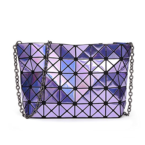 FZHLY Signore Catena Laser Pieghevole Pacchetto Geometrica,Purple Purple