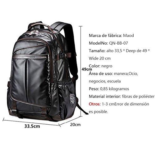 Imagen de maod hombre negocios  portátiles estilo retro  escolares cuero bolsa de escuela impermeable laptop backpack 16 negro 16  alternativa
