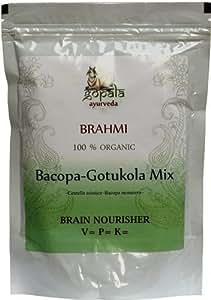 Organic Brahmi Bacopa Gotukola Mix Powder 250g Brain Nourisher (Centella Asiatica Bacopa Monniera) USDA Certified *Ship from UK