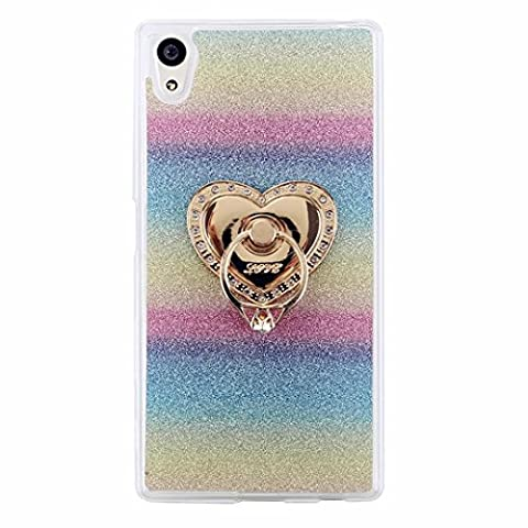 MUTOUREN Sony Xperia Z5 Compact/Z5 Mini TPU case cover TPU Silicone Case Cover Transparent Protective Case Ultra thin Soft Scratch Resistant Silicone Case bling glitter Cover-colorful ring