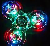 Hand Spinner Fidget Spielzeug, mit Crystal LED Light Flash Stress Reducer Perfekt für ADD, ADHS, Angst und Autismus Adult Kinder Spielzeug Geschenk