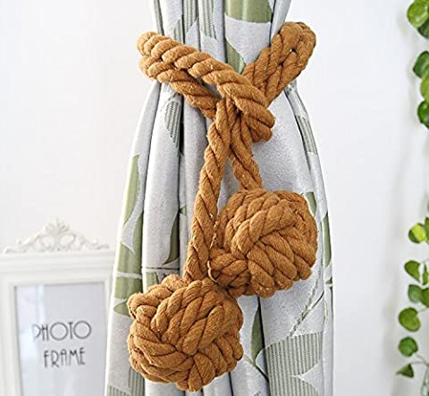 Fittoway Fine Hand Tied Curtain Clip Drapery Tassels Curtain Tiebacks/Tassel Window Cotton Rope Tie Ball Back Accessories 47.2 Inches (Coffee)