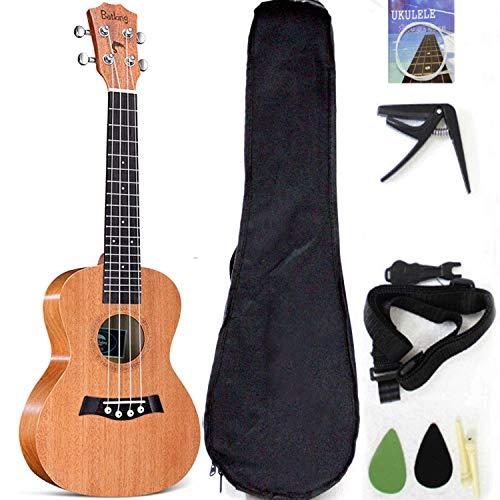 Ukulele tenore con parte superiore in mogano, 66 cm, con accessori per ukulele con custodia, tracolla, corda in nylon, plettri