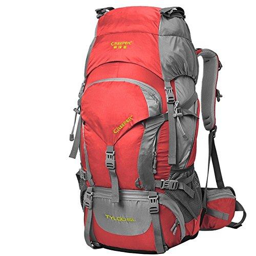 YAAGLE 60L Profi- Outdoor Bergsteigen-Tasche Trekkingrucksäcke für Camping / Wandern / Reisen mit Regenhülle 70x33x28 CM rot