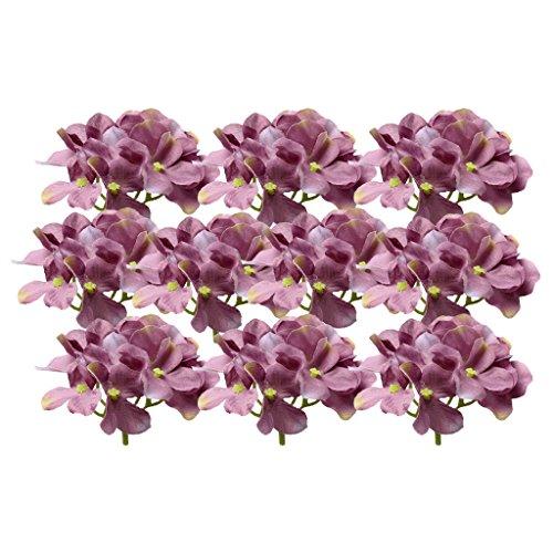 10 pezzi artificiale testa fiore di ortensia teste in seta per decorazione feste matrimoni clip abiti scrapbooking - viola