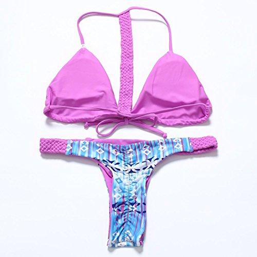 WANGXN Frau Bikini Mode Triangel-Bikini sammeln Spleiß Split Pink