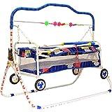 LookNSnap New Born Baby Cradle Cot Cum Stroller With Wheels - Blue - J2
