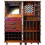 ProPassione Stateroom Koffer-Bar aufklappbar, mit Rollen, Antikdesign, Schwarz, Messingbeschläge, H 147 x B 62 x T 59 cm