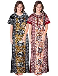 Trendy Fab Women's Cotton Embellished Maxi Night Gown (NTY_55_Multicolored)