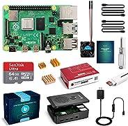 LABISTS Raspberry Pi 4 Model B 4 GB Ultimate Kit met 64 GB Class10 micro SD-kaart, 5,1 V 3,0 A USB-C AAN / UIT