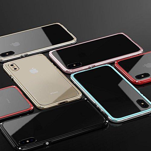 """iPhone X Coque ,SHANGRUN Aluminium Metal Frame Bumper Coque + Transparent PC Matériel Protictive Couvercle housse Etui Protection Case pour iPhone X 5.8"""" Rose Or Rose Or"""