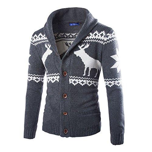 SEWORLD Weihnachten Christmas Herren Männer Herbst Winter Weihnachten Pullover Strickjacke Xmas Strickwaren Mantel Jacke ()