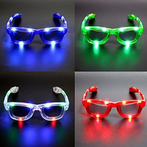 Atcket (Satz von 4) sortierte Farben LED-Gl?ser, LED-Schatten, LED-blinkende Sonnenbrille f¨¹r Rave-Party