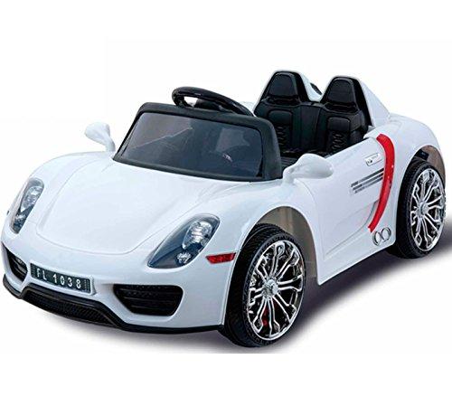 Babycoches - Coche eléctrico para niños 918 Spyder, con mando a distancia para control parental, 12V, color blanco