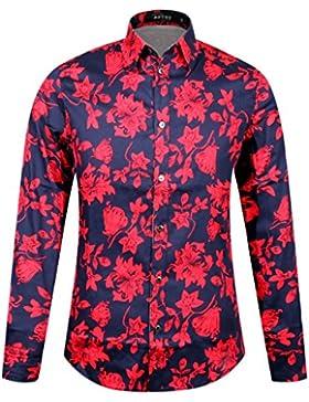 APTRO Herren Hemd Blumen Baumwoll Drucken Ferien Art-langärmlig Shirt