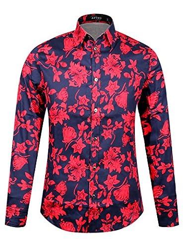 APTRO® Männer Baumwolle 1107 Ferien Art-langärmliges Urlaub Rot Blumen Schwarz Hemd M