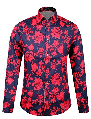 APTRO® Männer Baumwolle 1107 Ferien Art-langärmliges Urlaub Rot Blumen Schwarz Hemd XS