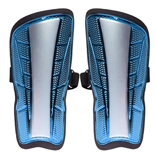Generic Adults Kids Football Soccer Shin Pads Guards Leg Calf Armor Protective Gear - Red/ Blue/ Yellow - Blue