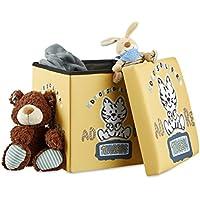 Preisvergleich für Relaxdays Sitzhocker für Kinder, faltbar, mit Stauraum, Aufbewahrungsbox mit Deckel, HxBxT 38 x 38 x 38 cm, Tiger