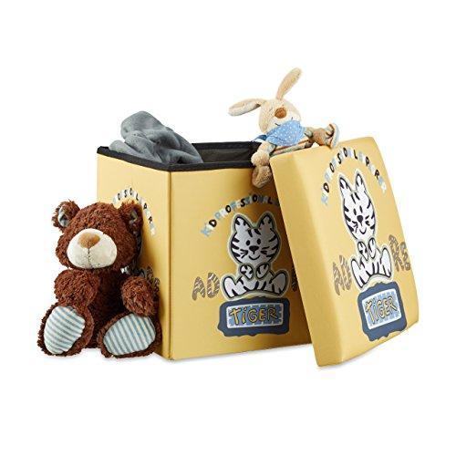 Relaxdays Sitzhocker für Kinder, faltbar, mit Stauraum, Aufbewahrungsbox mit Deckel, HxBxT 38 x 38 x 38 cm, Tiger