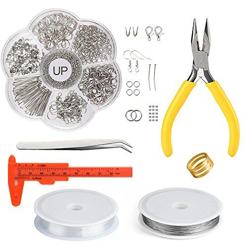 Fepito kit di creazione di gioielli kit di ricerca di gioielli kit di riparazione con pinze e pinze