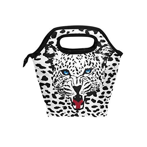 coosun Leopard Print Muster Lunch Tasche Isolierte Thermo Kühler Lunch Bag Wasserdichte Neopren Lunch Handtaschen Tote mit Reißverschluss für Outdoor-Reise Picknick - Schwarz Leopard Print Tote