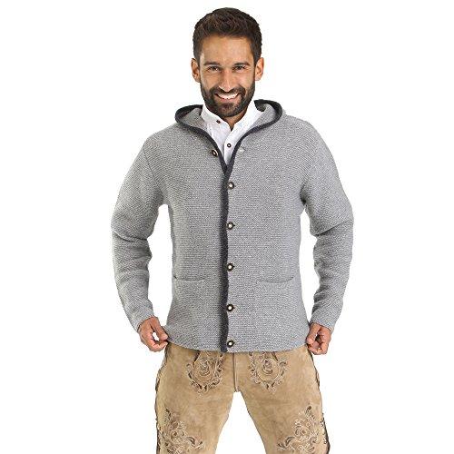 ALMBOCK Trachten Jacke Herren grau | Trachtenjacke mit Kapuze aus flauschiger und atmungsaktiver Lammwolle | Trachten Jacke Herren - Trachtenweste 54 - 5