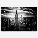 ge Bildet Hochwertiges Leinwandbild XXL - Empire State Building in New York - Schwarz Weiß - 120 x 80 cm Einteilig | Wanddeko Wandbild Wandbilder Wohnzimmer deko Bild |